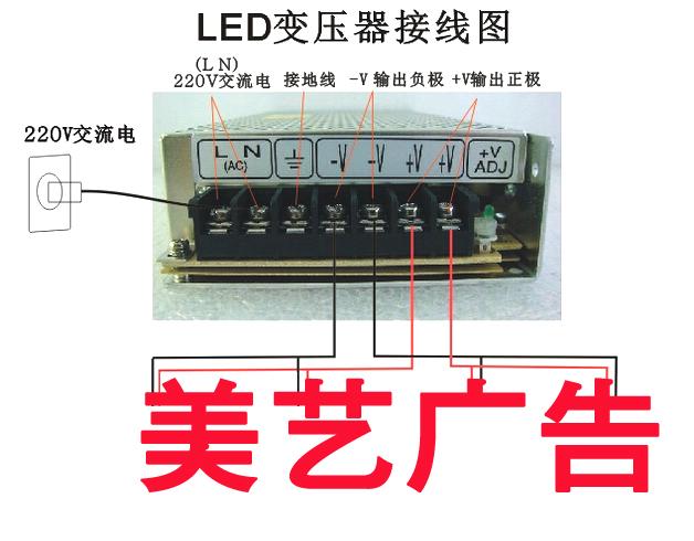 LED是低功耗产品,芯片无法承受过强电流,所有LED发光字产品都需要特定电压的变压器,不正确的接线容易烧坏变压器,因此广美标识为客户提供了变压器的接线图。  变压器底部会有螺丝接口,需要螺丝批拧开再进行接线。其中LN(AC)是接220V的交流电,两个接口火线和零线顺序可替换,但不能接触。 左边第三个接口是地线接口,可接可不接。-V是输出负极,+V是输出正极。  LED变压器接字的时候每个笔画都必须接有正极以及负极电源,且根据LED灯的功率配对应的变压器,如一个LED灯的功率是0.